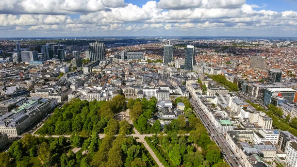 Aerial View Financial District Of Brussels Cityscape In Belgium stock photo