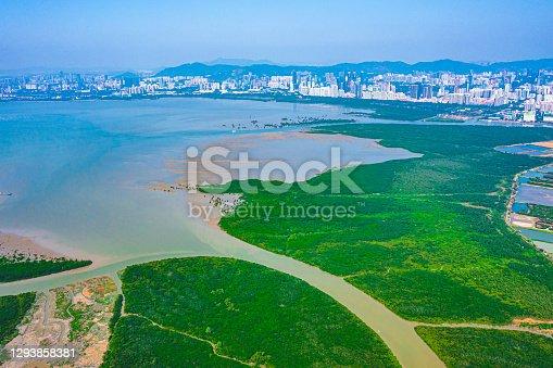 Aerial view of the fish pond at Tai Sang Wai, Hong kong