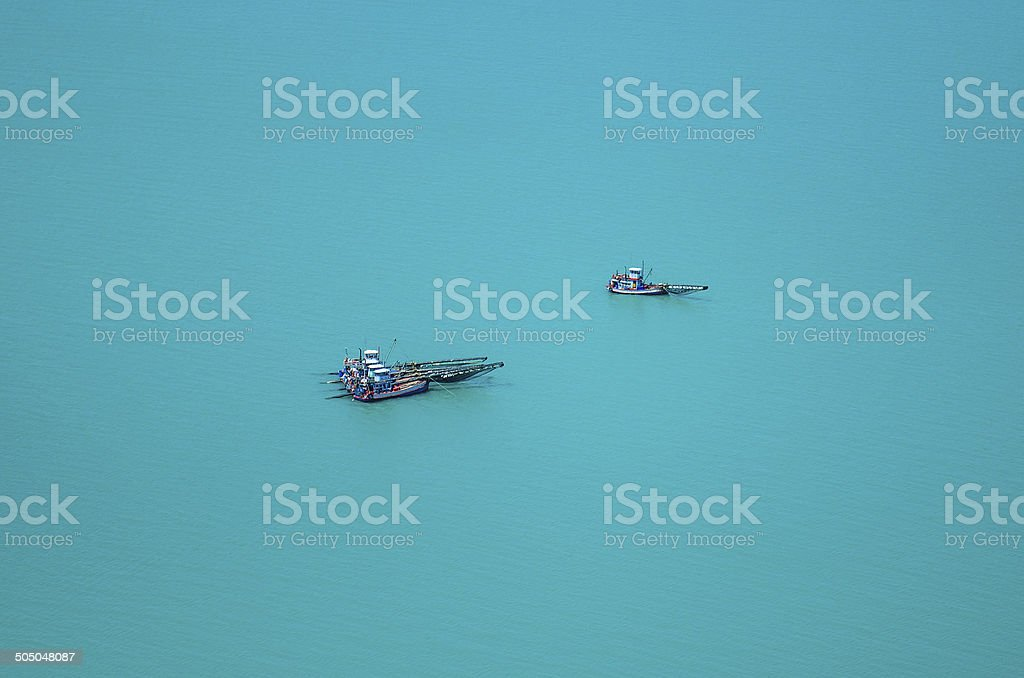 Aerial view fishing trawler,  Shrimp Fishing Boat With Nets. stock photo