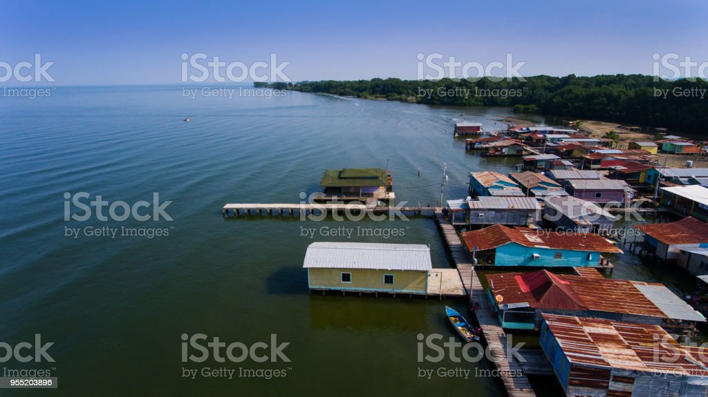 Aerial View floating villages stock photo