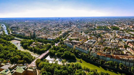Aerial View Flying By Over Munich Germany