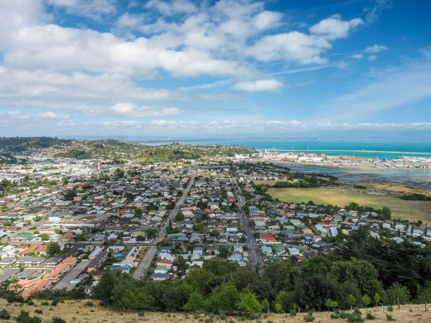 Aerial view form the Center of New Zealand, Nelson. stock photo