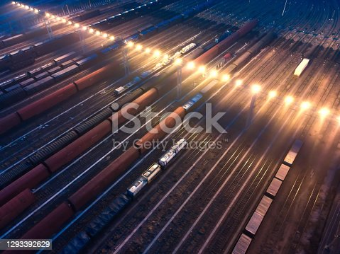 Aerial View Freight Transportation At Night