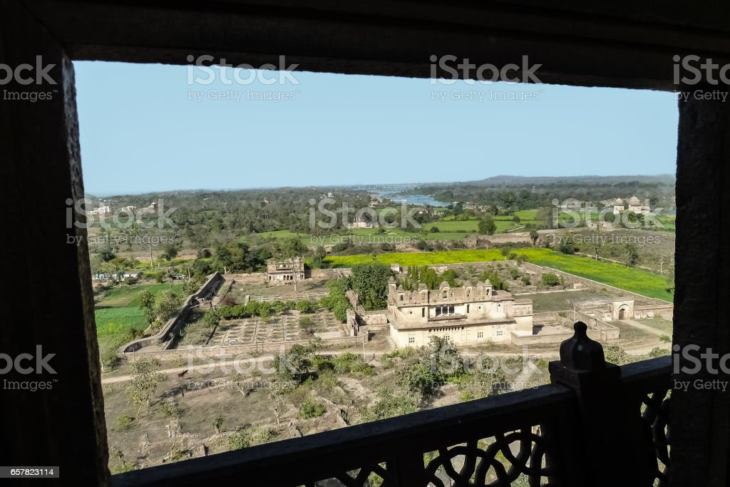Aerial view from a window at Jahangir Mahal, Orchha stock photo