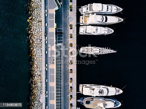 1066331604 istock photo Aerial view from above at the luxury yachts in the marina 1134853670