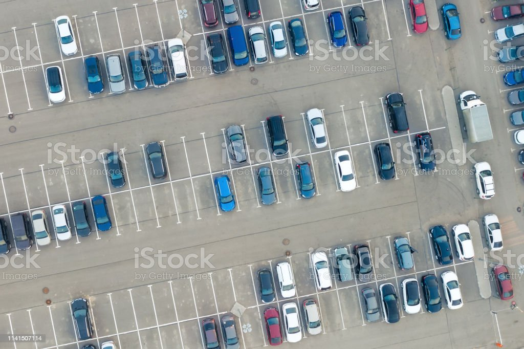 Aerial view from above - car parking in a residential area of the city