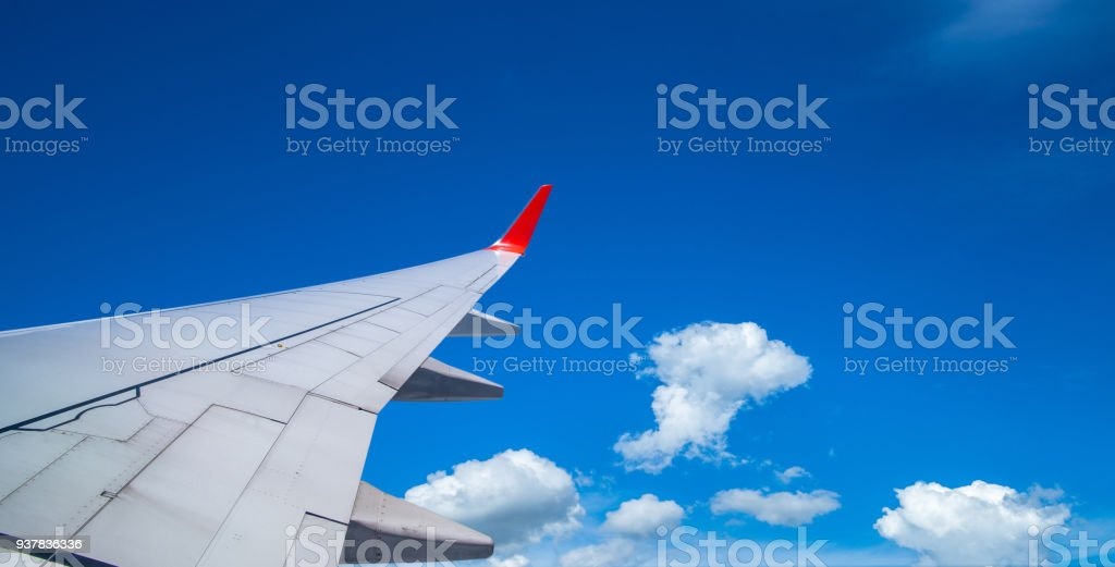 aerial view from airplane window. stock photo