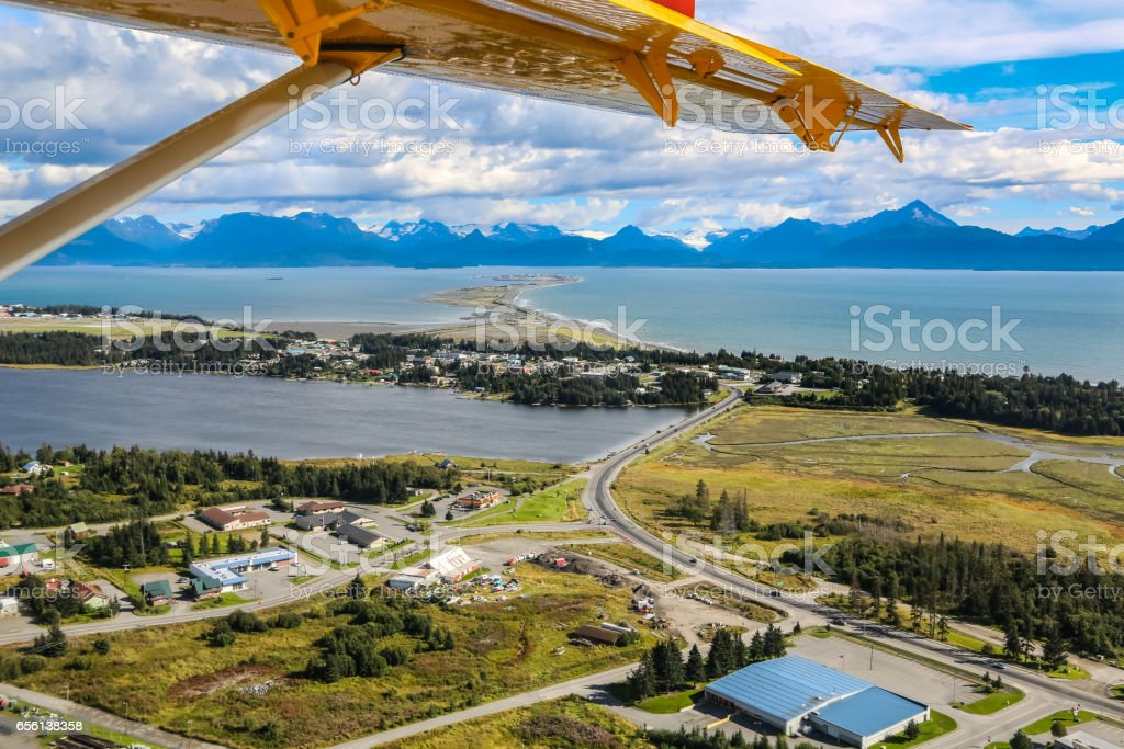 Aerial view from an airplane of Homer Spit and  Kachemak Bay stock photo