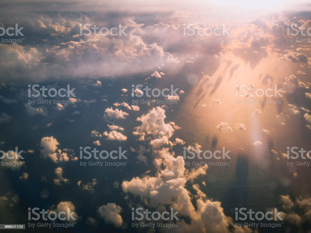 Aerial View from an Airplane Window flying over New Zealand to Australia - Royalty-free Above Stock Photo