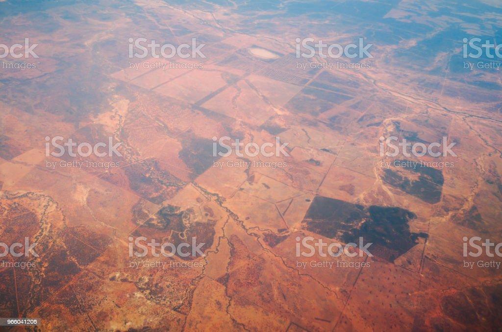 Luchtfoto uit een vliegtuig venster over Nieuw-Zeeland vliegen naar Australië - Royalty-free Achtergrond - Thema Stockfoto