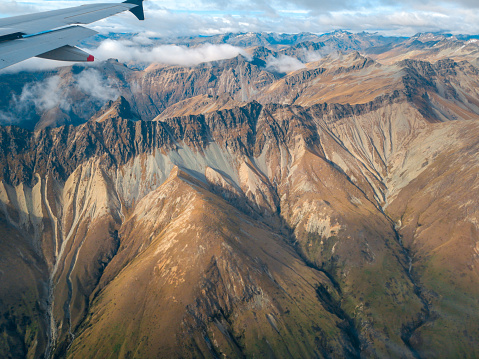 Aerial View From An Airplane Window Flying Over Queenstown New Zealand Stock Photo - Download Image Now