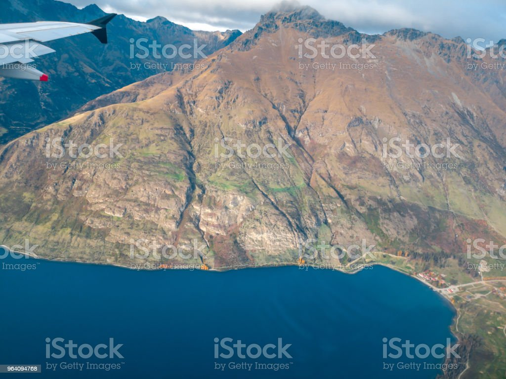 Aerial View from an Airplane Window flying over Queenstown, New Zealand - Royalty-free Above Stock Photo