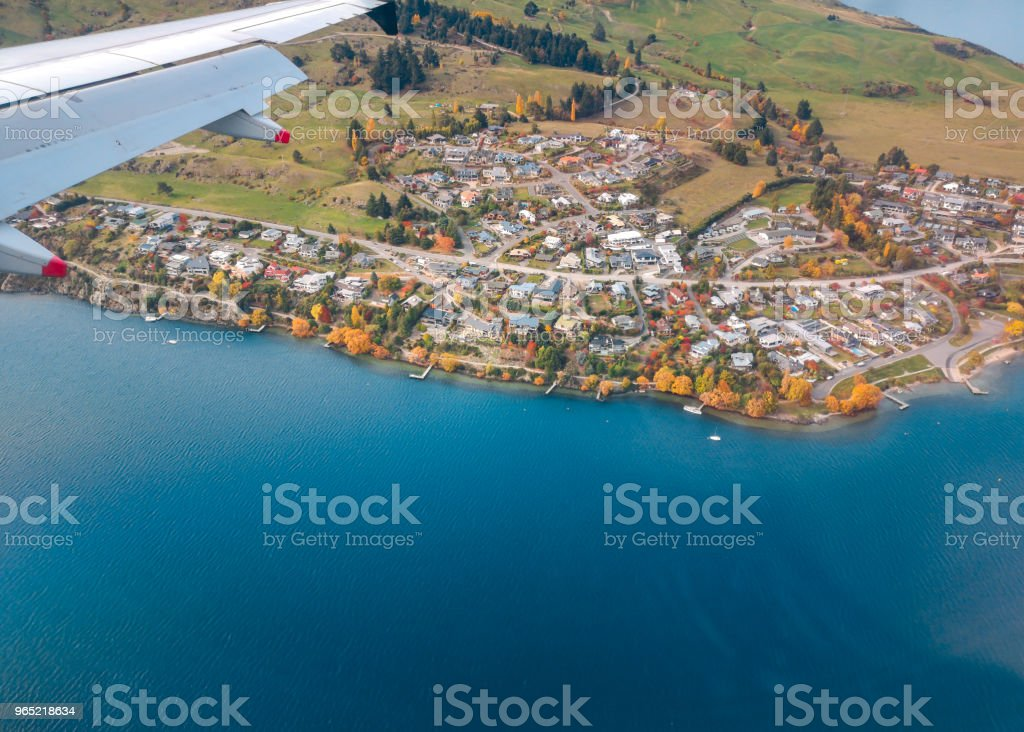 Aerial View from an Airplane Window flying over Queenstown, New Zealand royalty-free stock photo