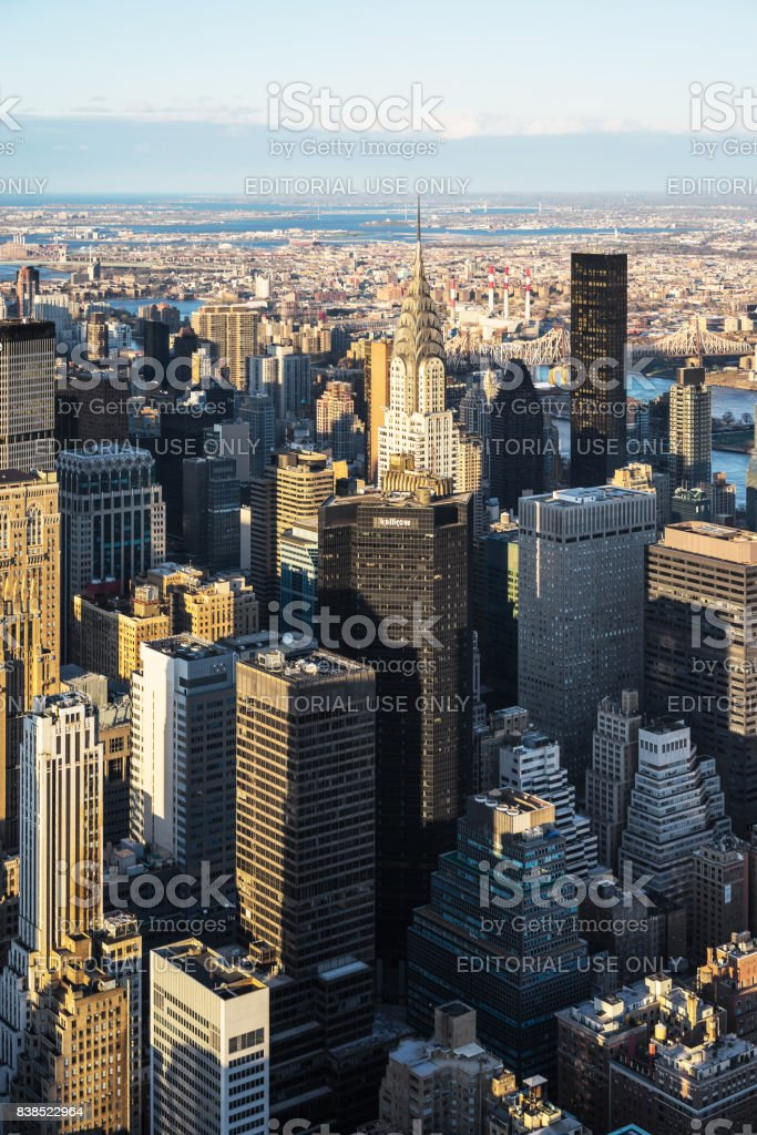 Aerial view from Empire State Building to Midtown East NYC stock photo