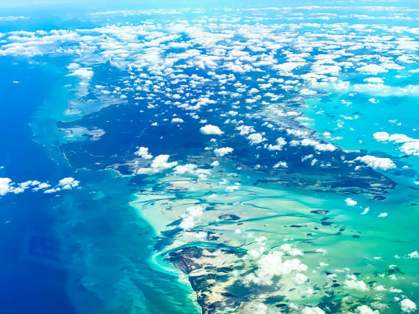 aerial view from from a jet, cockpit view, Bahamas, Caribbean Island, Nassau stock photo