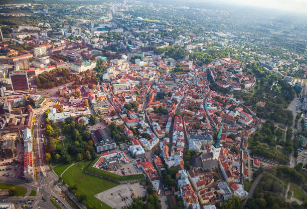 Aerial view from helicopter at old town of Tallinn, Estonia. stock photo