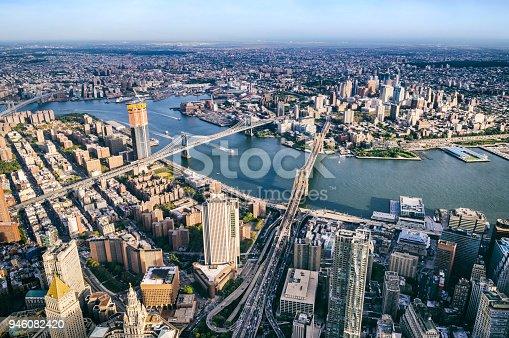 Aerial view of Brooklyn, Manhattan, and Williamsburg Bridges in New York City.