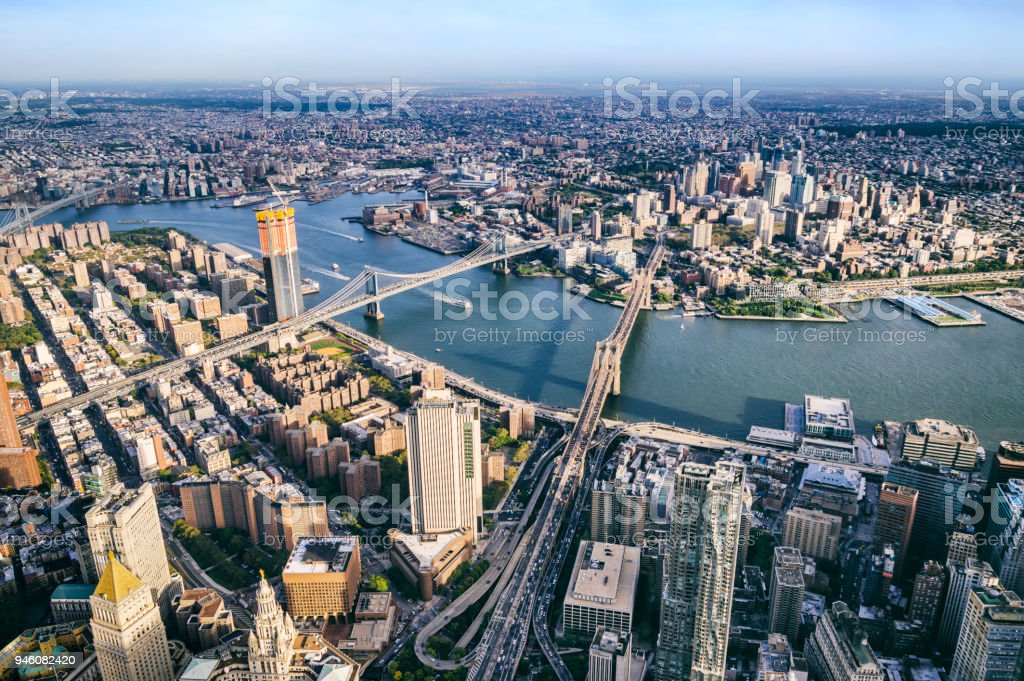 Aerial view from Helicopter of BMW bridges. Brooklyn, Manhattan and Williamsburg Bridges. New York stock photo