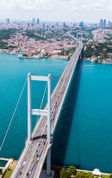 Aerial view from helicopter to Istanbul Bosphorus Bridge (July 15 Martyrs' Bridge) in Turkey Aerial view from helicopter to Istanbul Bosphorus Bridge (July 15 Martyrs' Bridge) in Turkey. bosphorus stock pictures, royalty-free photos & images