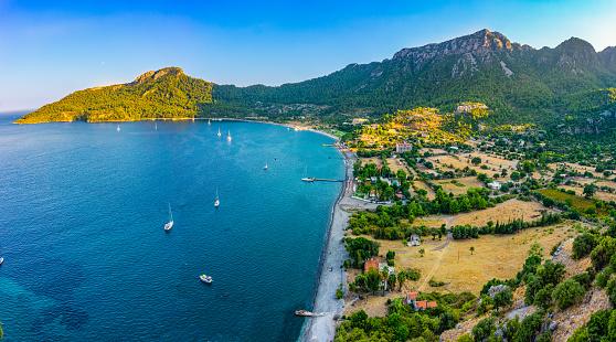 Marmaris, Mugla Province, Summer, Sea, Beach, Mountain, Nature, High Angle View, Aerial View, Turkey - Middle East, Tourism
