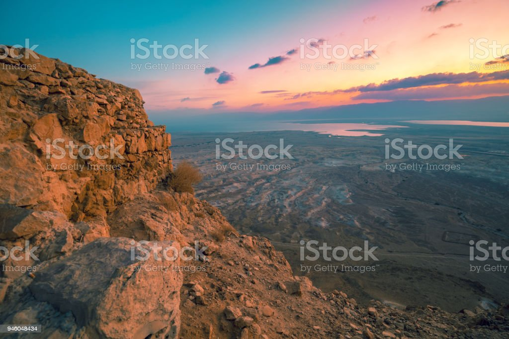 Aerial view from Masada in early morning. Sunrise in Judaean Desert stock photo