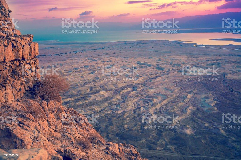 Luftaufnahme von Masada. Sonnenaufgang in der Judäischen Wüste – Foto