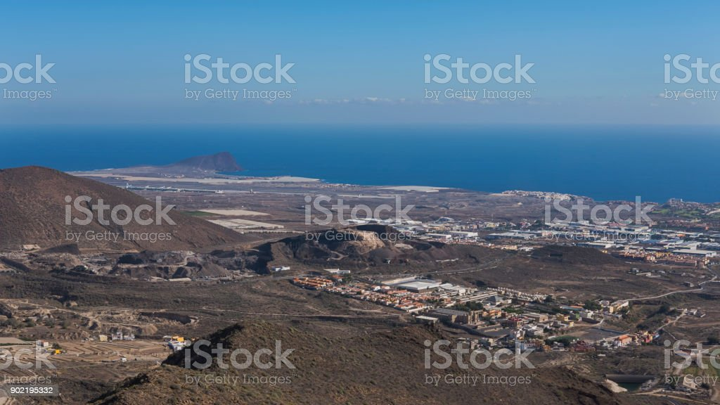 Aerial view from Mirador La Centinela, southern coast of Tenerife, Canary Islands, Spain stock photo
