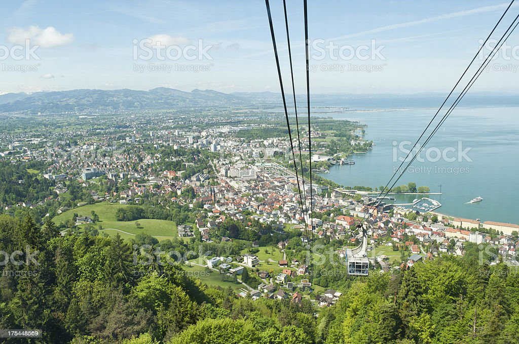 Aerial view from mountain Santis of beautiful Bregenz stock photo