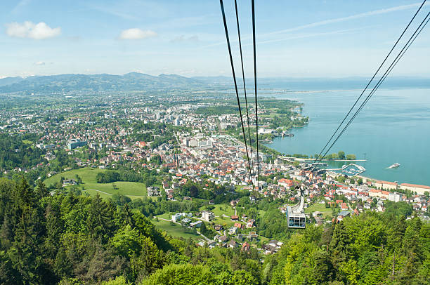 Aerial view from mountain Santis of beautiful Bregenz View over Bregenz and outer conurbation area / Austria from the Pfanderbahn - the mountain railway to the Pfander Bodensee stock pictures, royalty-free photos & images