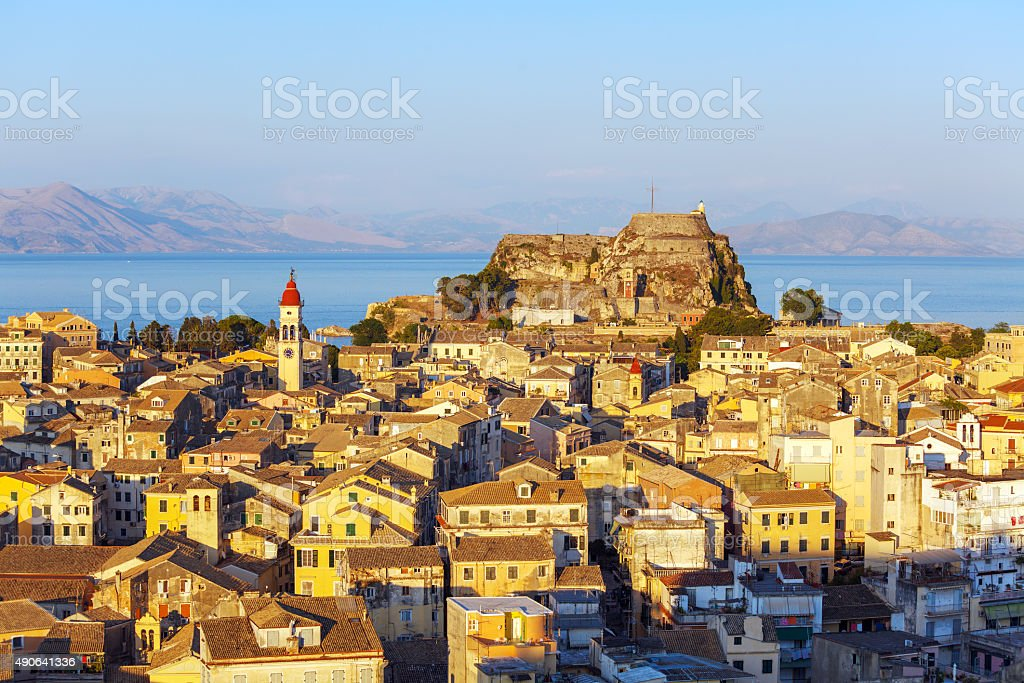 Aerial view from New fortress Kerkyra, Corfu island, Greece stock photo