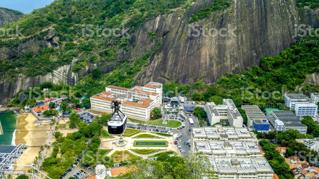Aerial view from Red Beach and cable car in Rio de Janeiro, Brazil stock photo