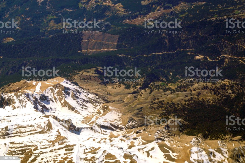 Aerial view from snow covered taurus mountains in turkey royalty-free stock photo