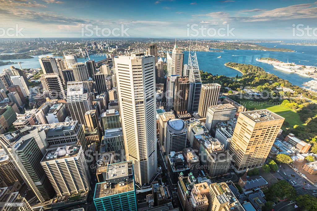 Aerial view from Sydney Tower in Sydney Australia stock photo
