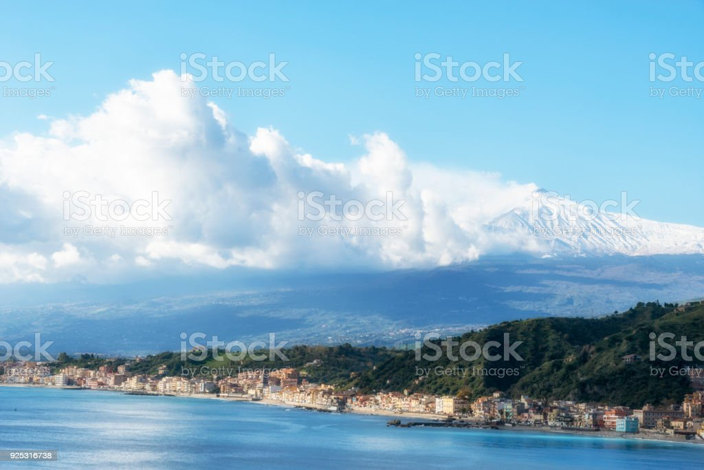 Aerial view  from Taormina on Giardini Naxos with the Mount Etna. Province of Messina. Sicily, Italy. stock photo