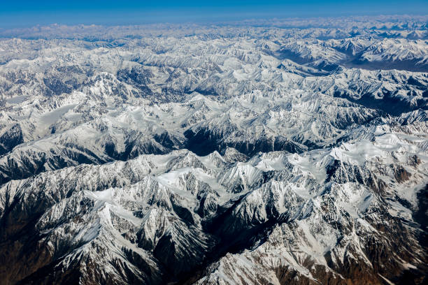 Aerial view from the air to Hussain Abad,Sust ,Pakistan, Karakorum, Central Asia stock photo
