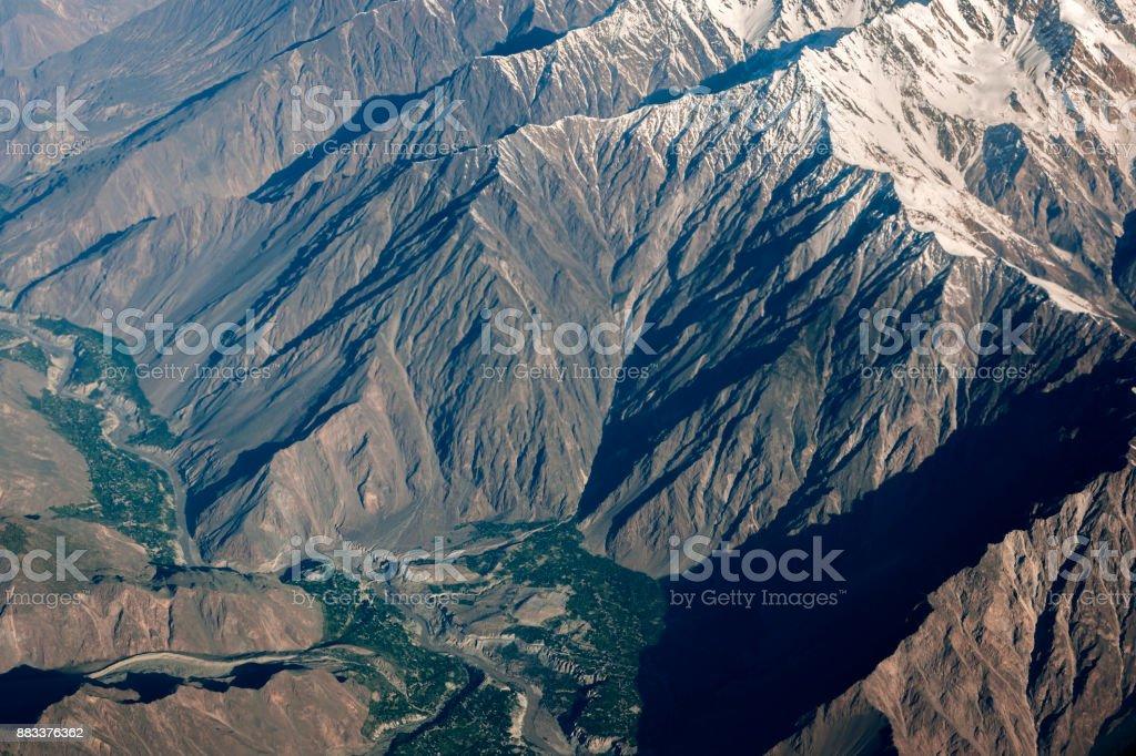 Aerial view from the air to Naga valley, Nasirabad, Pakistan, Karakorum, Central Asia stock photo