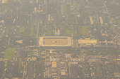 istock Aerial view from the airplane of Wat Phra Dhammakaya, a Buddhist temple (wat) in Khlong Luang District, in the Pathum Thani Province north of Bangkok, Thailand. It was founded in 1970. 1255775853