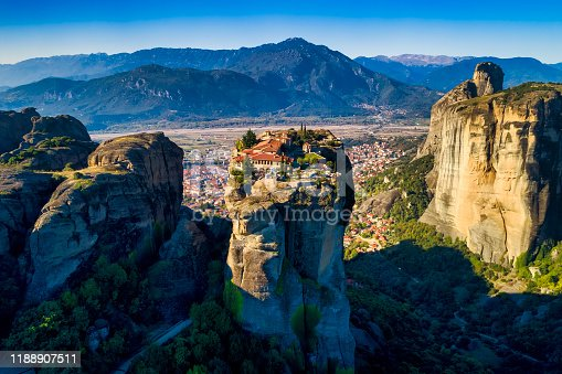 aerial view from the Monastery of the Holy Trinity on top of the cliff in Meteora near Kalabaka, Trikala, Greece
