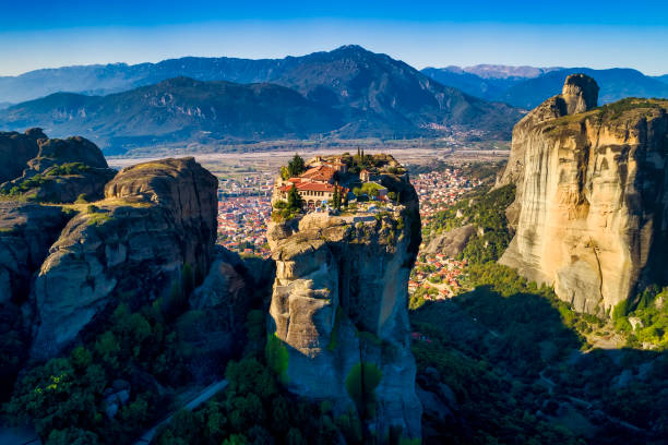 aerial view from the Monastery of the Holy Trinity in Meteora, Greece aerial view from the Monastery of the Holy Trinity on top of the cliff in Meteora near Kalabaka, Trikala, Greece abbey monastery stock pictures, royalty-free photos & images
