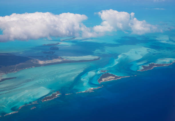 Aerial view from the plane, flying over Bahamas stock photo