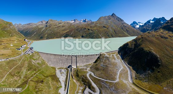 Aerial view from the Silvretta reservoir and the Silvretta Alps in Vorarlberg, Austria. HDR panorama with extremely high resolution shot by a drone.