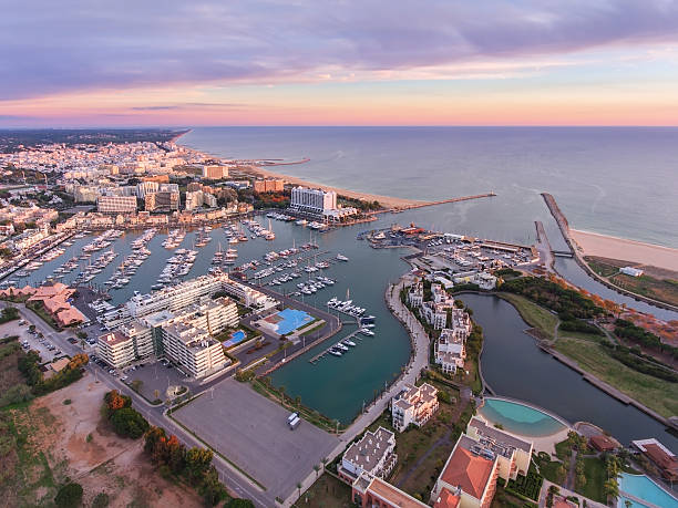 Aerial. View from the sky, the tourist resort Vilamoura. stock photo