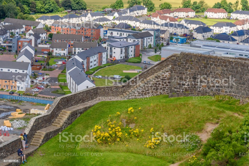 Aerial view from the Stirling Casle in Scotland. stock photo