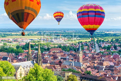 istock Aerial view from the village of Obernai, Alsace, France 863295188