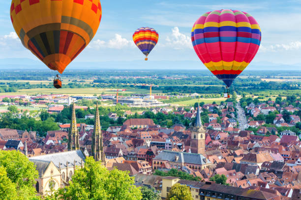 Aerial view from the village of Obernai, Alsace, France - foto stock