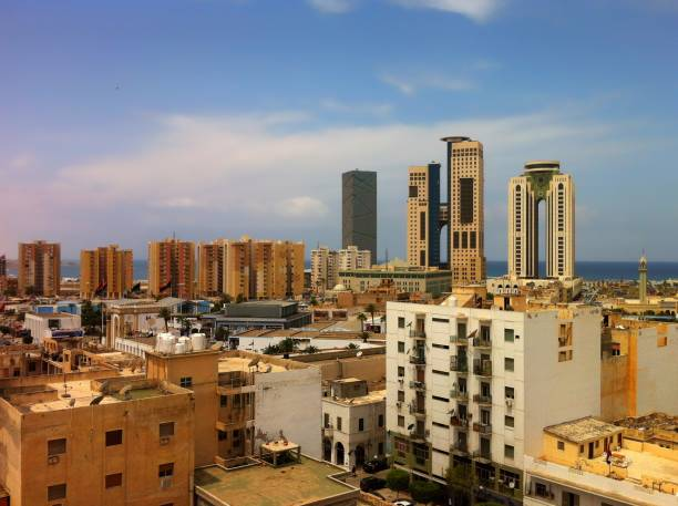 Aerial view from Tripoli, Libya. stock photo