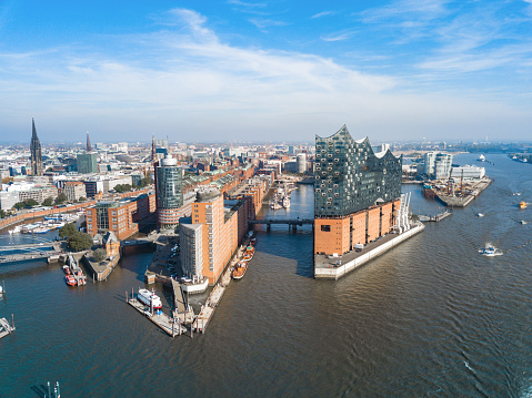 aerial view from waterside on Hamburg Speicherstadt