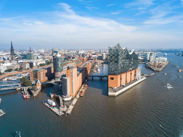 Luftbild vom Ufer auf Hamburg Speicherstadt – Foto
