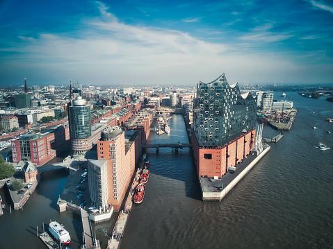 aerial view from waterside on Hamburg Speicherstadt