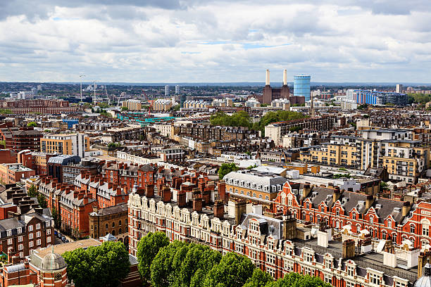 Aerial View from Westminster Cathedral on Roofs and Houses stock photo